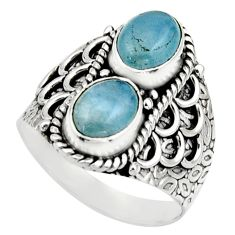 925 sterling silver 3.01cts natural blue aquamarine ring jewelry size 7.5 r17498