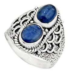 925 sterling silver 3.29cts natural blue kyanite oval shape ring size 7.5 r17504