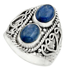 3.41cts natural blue kyanite 925 sterling silver ring jewelry size 7.5 r17508