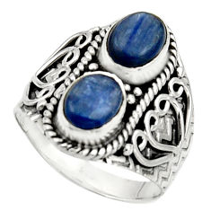925 sterling silver 3.28cts natural blue kyanite oval shape ring size 7.5 r17509