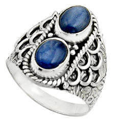 3.16cts natural blue kyanite 925 sterling silver ring jewelry size 7.5 r17511