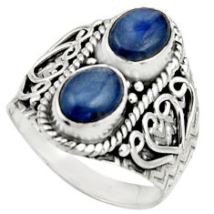 925 sterling silver 3.16cts natural blue kyanite oval shape ring size 7.5 r17517