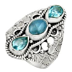 925 sterling silver 4.66cts natural blue aquamarine topaz ring size 8 r17523