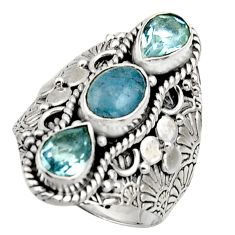 925 sterling silver 4.68cts natural blue aquamarine topaz ring size 8 r17526