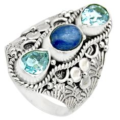 925 sterling silver 4.68cts natural blue kyanite oval topaz ring size 7.5 r17528