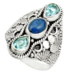 4.82cts natural blue kyanite oval topaz 925 sterling silver ring size 9 r17529