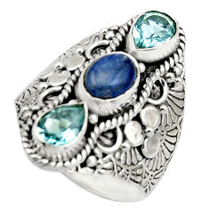 925 sterling silver 4.81cts natural blue kyanite oval topaz ring size 8 r17530