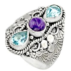 925 silver 4.68cts natural purple charoite (siberian) topaz ring size 9 r17532