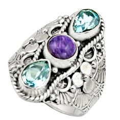 4.54cts natural purple charoite (siberian) topaz 925 silver ring size 8 r17534
