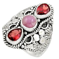 925 sterling silver 4.68cts natural pink morganite garnet ring size 8.5 r17536
