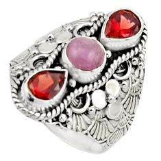 4.78cts natural pink morganite red garnet 925 sterling silver ring size 9 r17537