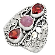 925 sterling silver 4.66cts natural pink morganite red garnet ring size 9 r17539