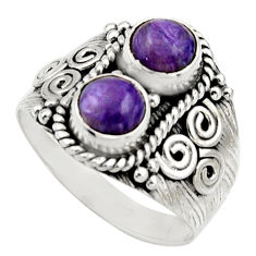 2.35cts natural purple charoite (siberian) 925 silver ring size 8 r17541