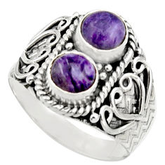 2.42cts natural purple charoite (siberian) 925 silver ring size 8 r17542