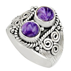 2.35cts natural purple charoite (siberian) 925 silver ring size 8 r17543