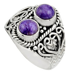 2.44cts natural purple charoite (siberian) 925 silver ring size 8 r17544