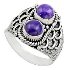 2.23cts natural purple charoite (siberian) 925 silver ring size 7 r17545