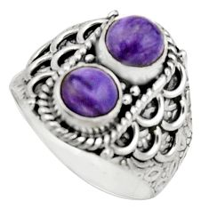 2.23cts natural purple charoite (siberian) 925 silver ring size 7.5 r17546