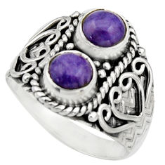 2.33cts natural purple charoite (siberian) 925 silver ring size 8 r17548