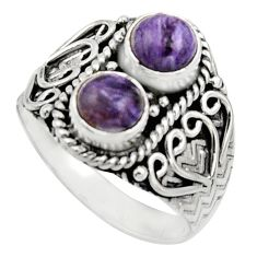 2.44cts natural purple charoite (siberian) 925 silver ring size 9 r17549