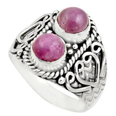 2.44cts natural pink kunzite 925 sterling silver ring jewelry size 7.5 r17557