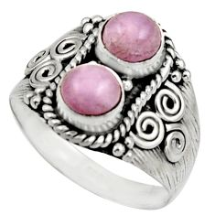 2.44cts natural pink kunzite 925 sterling silver ring jewelry size 8.5 r17560