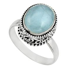 5.01cts natural blue aquamarine 925 silver solitaire ring size 9.5 r17565