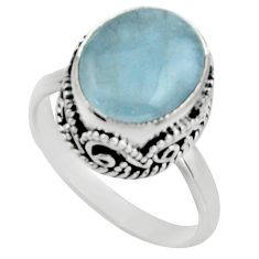 5.27cts natural blue aquamarine 925 silver solitaire ring jewelry size 8 r17566