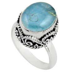 925 silver 5.29cts natural blue aquamarine solitaire ring jewelry size 6 r17568