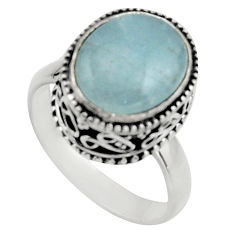 925 silver 5.30cts natural blue aquamarine oval solitaire ring size 7.5 r17571