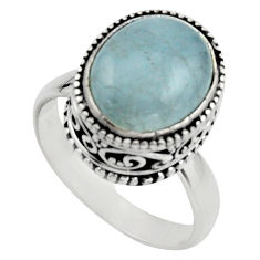 4.82cts natural blue aquamarine 925 silver solitaire ring jewelry size 8 r17572