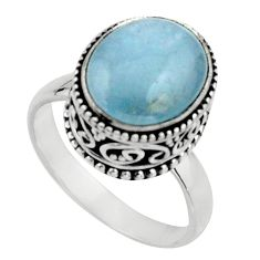 5.12cts natural blue aquamarine 925 silver solitaire ring jewelry size 8 r17575