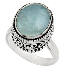 925 silver 5.09cts natural blue aquamarine solitaire ring jewelry size 6 r17579