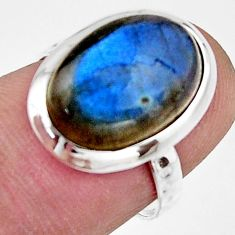 6.03cts natural blue labradorite 925 silver solitaire ring jewelry size 6 r17901