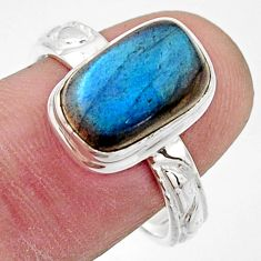 5.13cts natural blue labradorite 925 silver solitaire ring jewelry size 8 r17903