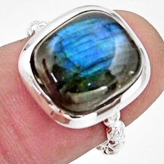 4.67cts natural blue labradorite 925 silver solitaire ring jewelry size 7 r17906