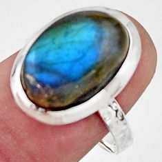 6.57cts natural blue labradorite 925 silver solitaire ring jewelry size 8 r17909