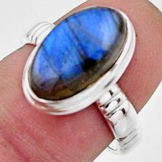5.87cts natural blue labradorite 925 silver solitaire ring jewelry size 7 r17910