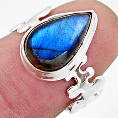 4.69cts natural blue labradorite 925 silver solitaire ring jewelry size 7 r17911