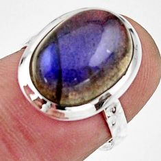 5.90cts natural blue labradorite 925 silver solitaire ring size 6.5 r17912
