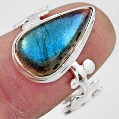7.33cts natural blue labradorite 925 silver solitaire ring jewelry size 8 r17914