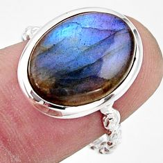 925 silver 6.50cts natural blue labradorite oval solitaire ring size 7.5 r17916