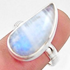 10.02cts natural rainbow moonstone 925 silver solitaire ring size 7 r17928