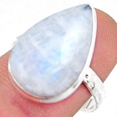 925 silver 9.86cts natural rainbow moonstone pear solitaire ring size 8 r17929