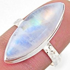 11.17cts natural rainbow moonstone 925 silver solitaire ring size 7.5 r17935
