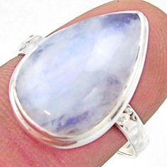 925 silver 8.84cts natural rainbow moonstone pear solitaire ring size 8 r17937