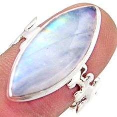 925 silver 13.15cts natural rainbow moonstone solitaire ring size 8.5 r17940