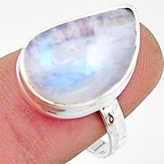9.18cts natural rainbow moonstone 925 silver solitaire ring size 8 r17941
