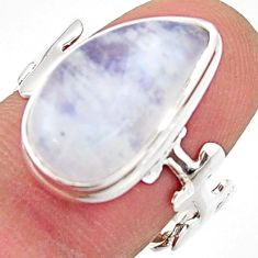 7.89cts natural rainbow moonstone 925 silver solitaire ring size 8 r17950