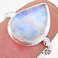 6.61cts natural rainbow moonstone 925 silver solitaire ring size 7.5 r17952